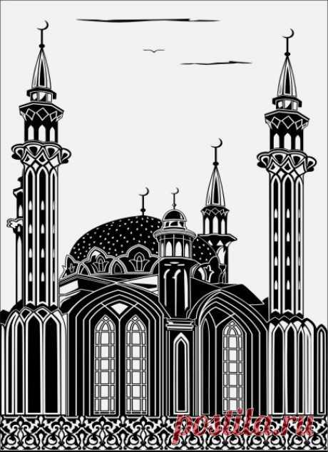 Пескоструйный рисунок мечеть ислам для  плоттерной резки, дизайнерский шкаф-купе.