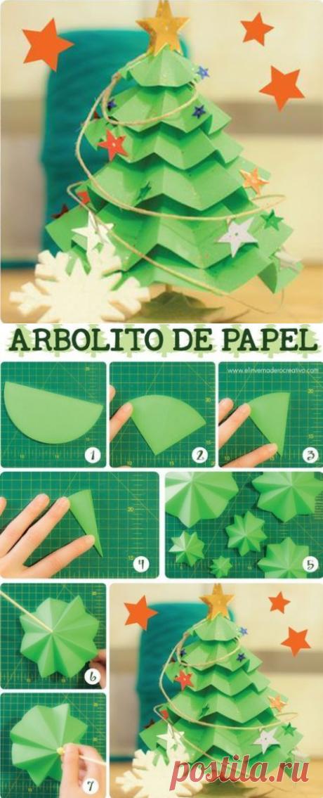 Объемная ёлочка из цветной бумаги