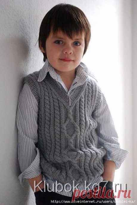Детский жилет с аранами «Пембрук»: размеры от 6 мес. до 8 лет
