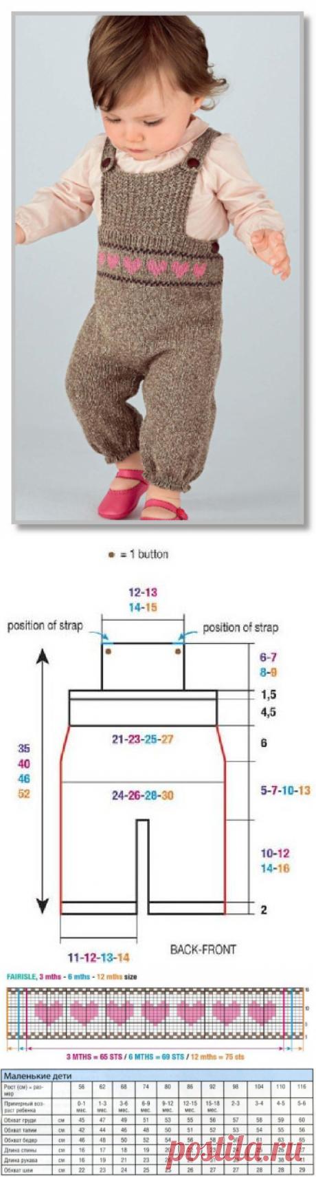 Вязание спицами детям от 0 до 3 лет. Описание детской модели со схемой и выкройкой. Полукомбинезон на бретелях, с жаккардовыми сердечками. Размеры: на 1 [3:6:12] месяцев