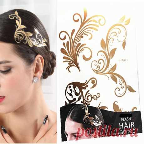 1 шт. волос татуировка ожерелье вспышки блеск дизайн золотой временные татуировки наклейки женщины девушки Metalic волос колье рукава стикер купить на AliExpress