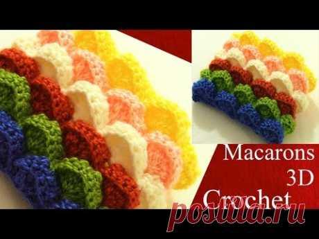 Crochet en 3D punto macarons marshmallow de colores para almohadones cojines  tejido tallermanualper