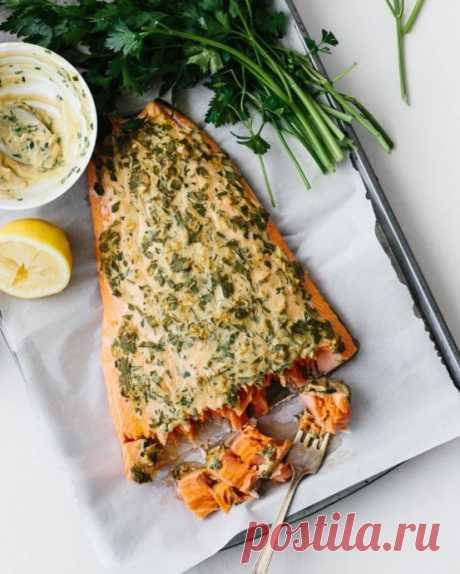 Запеченный лосось с горчицей