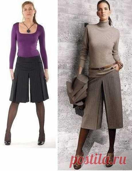 Юбка-брюки: построение выкройки  Для построения выкройки юбки брюк, помимо мерок, необходимых для основной выкройки, вам потребуется еще одна дополнительная мерка: Вс (27 см).  Обведите основные выкройки переднего и конечно заднего полотнищ. Крайние точечки линий середины, бокового среза и верхнего среза и бедер обозначьте теми же буквами, как и на основном чертеже.  Задняя половинка. Средний срез.  От точки Т2 вниз по прямой бокового среза отложите отрезок, равный высоте ...