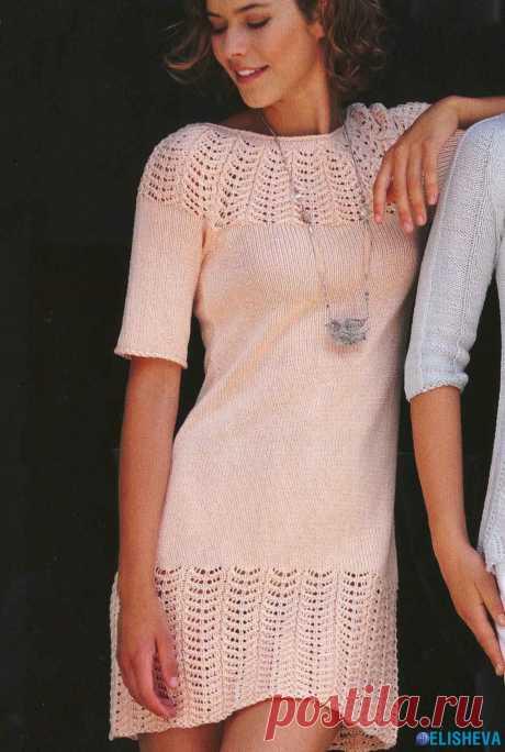 Мини-платье с ажурным узором, вязаное спицами | Блог elisheva.ru