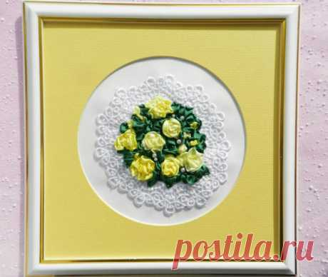 Framed Embroidery Picture Yellow Roses with silk от YakovlevaLena