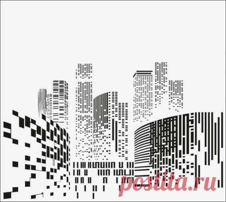 Пескоструйный рисунок абстрактный город для  плоттерной резки, дизайнерский шкаф-купе.