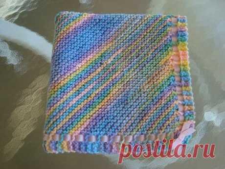 Одеяло для малыша, связанное по диагонали