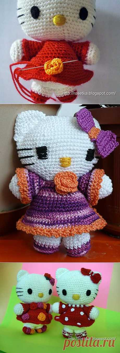 Hello Kitty Мастер-класс по вязанию амигуруми Hello Kitty.