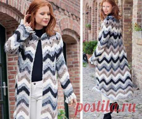 Оригинальное пальто с узором «зигзаг»