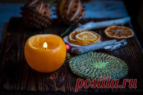 Простой способ сделать свечу из апельсина без воска и фитиля. | Живые вещи | Яндекс Дзен