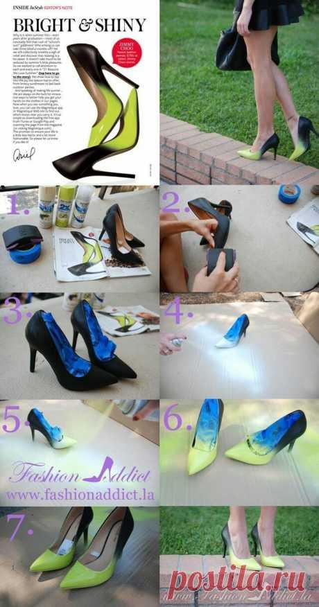 Туфли с деграде (DiY) Модная одежда и дизайн интерьера своими руками