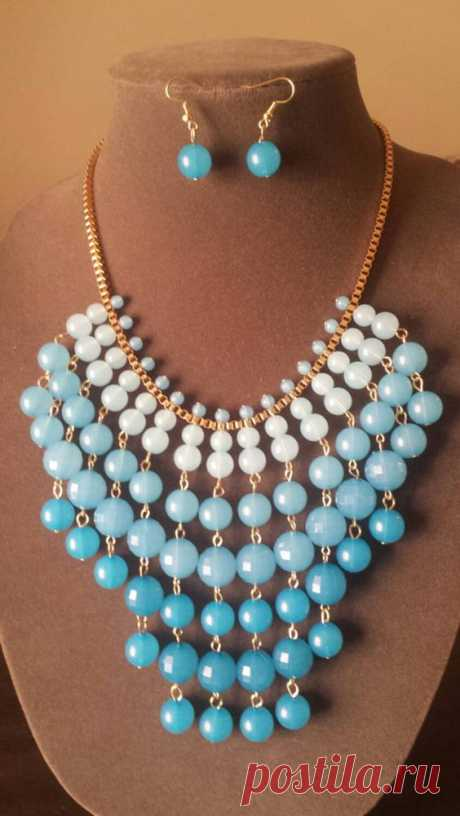 Blue and Gold Bib Necklace Set Collar Necklace Statement Necklace Gifts for Her Something Blue Bridal Gift