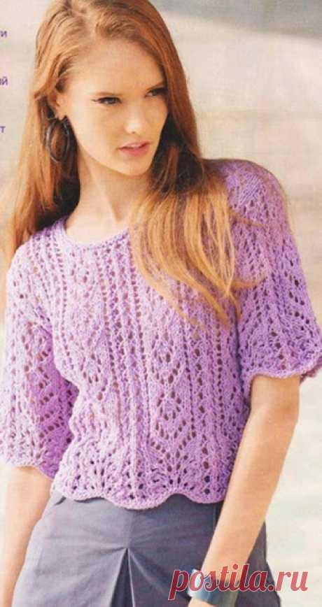 Летняя кофточка спицами Ажурный летний пуловер источник