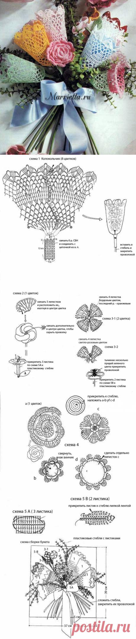Нежный букет цветов крючком. Схемы и описание