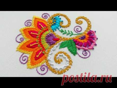 Embroidery Indian * Easy stitches * Decorative flower * top embroidery