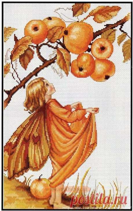 Эльфочка с яблоками