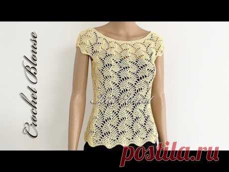 Lace summer blouse crochet pattern tutorial