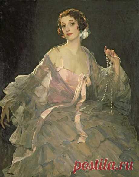 Хейзел в розовом и сером (картина) — сэр Джон Лавери (англ. John Lavery) (1856—1941) — ирландский и шотландский художник, мастер портретной и пейзажной живописи.