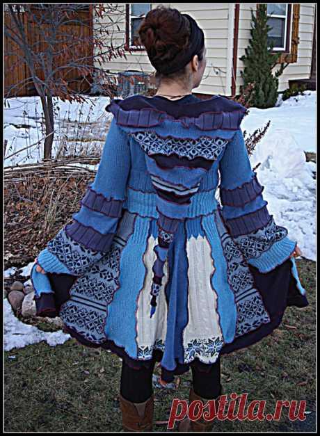 Custom Made Short COZY ROSE Upcycled sweater Coat от rosecanino
