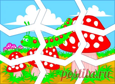 Шаблон для ручного разрезания картинки на кусочки пазлы Гусиничка на грибах