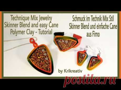 Technique Mix Jewelry , Skinner Blend and easy Cane,  Polymer Clay Tutorial