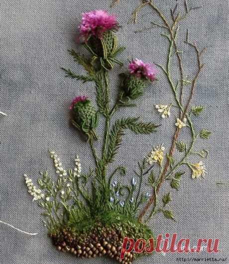 Цветы объемной вышивкой гладью. Красивые работы