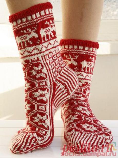 Вязаные носки «Рождественская сказка» | ВЯЗАНЫЕ НОСКИ