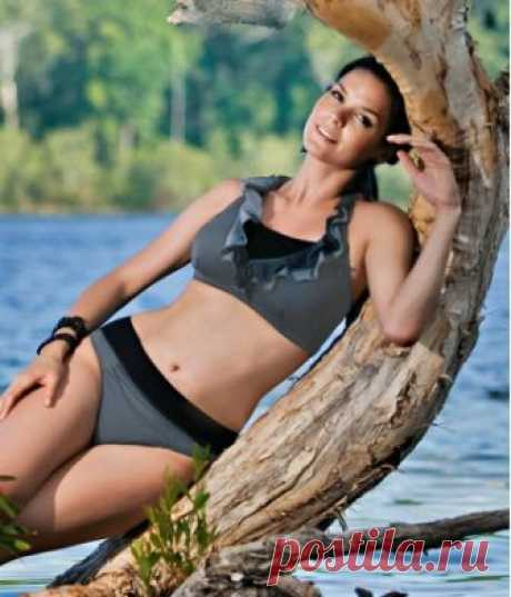 MESTI mastectomy halter neck bikini with frilled in charcoal grey