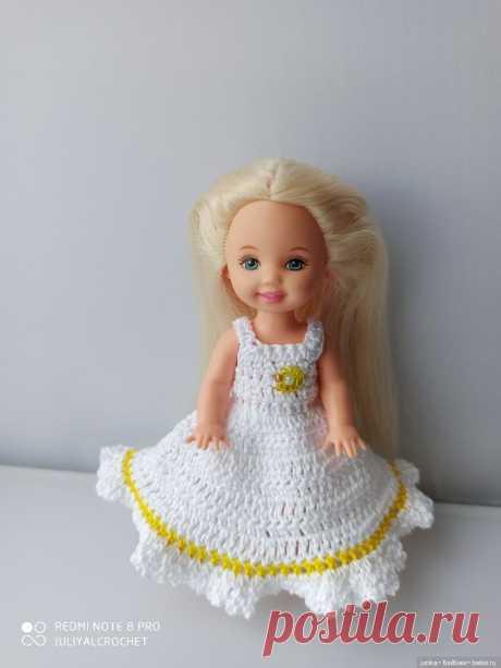 """МК """"Платье с оборкой для Келли"""" крючком / Вязание для кукол / Бэйбики. Куклы фото. Одежда для кукол"""