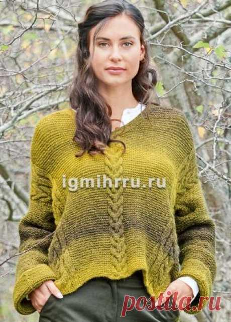 Пуловер с центральной и диагональными «косами». Вязание спицами