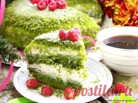 "Gentle and bright yogurt ""Зеленая поляна&quot cake;"