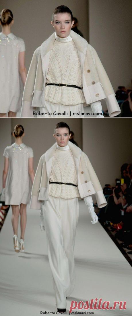 Белый пуловер от Roberto Cavalli - Вяжем с Лана Ви