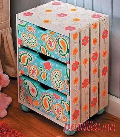 Decoração e reciclagem: gaveteiro de caixa de frutas | Flickr - Photo Sharing!