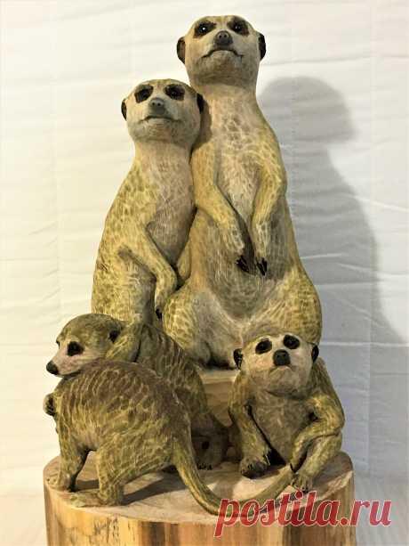 Скульптурная группа  из 5 фигур Семья сурикатов находится в коллекции автора. Выставлена на продажу. Цена 200000 руб.
