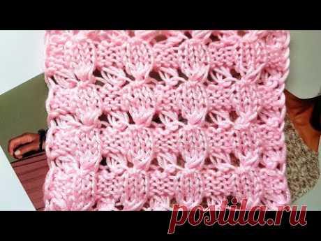 Вяжем секционный узор с эффектом вытянутых петель 🍂  knitting pattern.