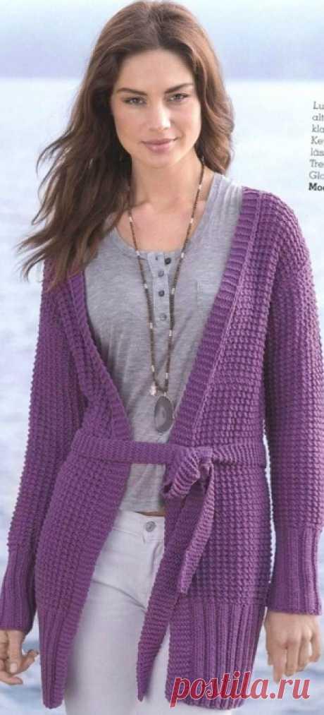 Вязание лилового жакета спицами