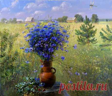 Пейзаж с васильками