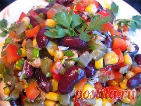 Постный салат с кукурузой и фасолью / Простые рецепты