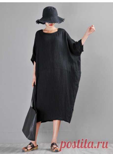 Black Linen Loose Dress-Round Neck Joker Raglan sleeve | Etsy