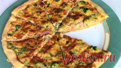 Простой рецепт вкусного песочного пирога с форелью и брокколи.