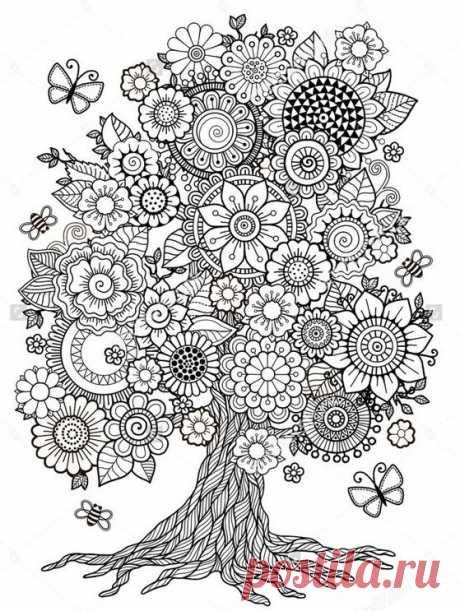 Антистресс раскраски с растительными рисунками — Сделай сам, идеи для творчества - DIY Ideas