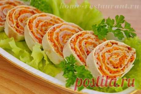 Закуска из лаваша с корейской морковью - быстро и просто » Женский Мир