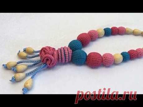 """Слингобусы """"Дивоцвет"""" - Как сделать (МК №10) // Crochet Beads - How to Make Nursing Beads Tutorial"""