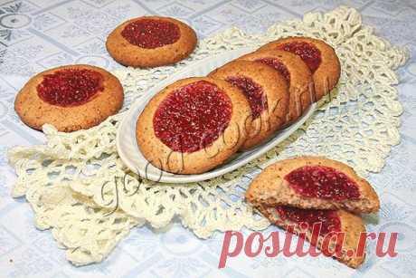 арахисовое печенье с малиной