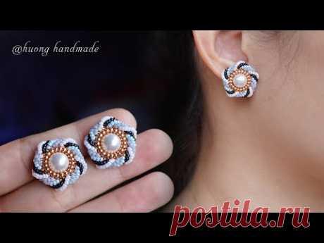 Pinwheel beaded stud earrings. How to make earring
