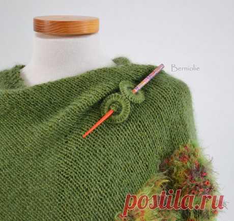 968. Green knitted shawl   Flickr - Photo Sharing!