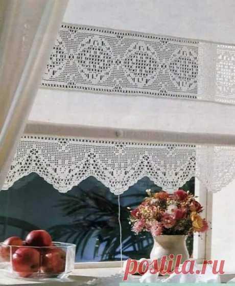 Филейный узор для очаровательной кухонной занавески
