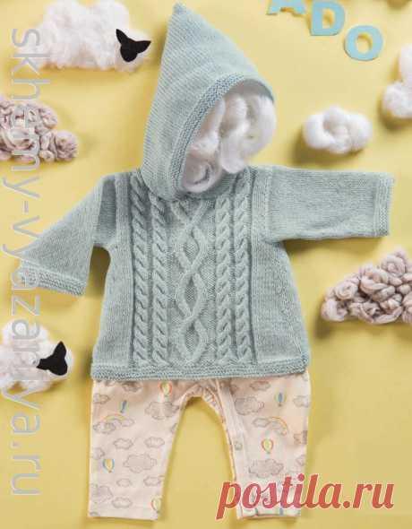 Кофточка с капюшоном и застежкой на спинке для малыша. Схема вязания спицами и описание.