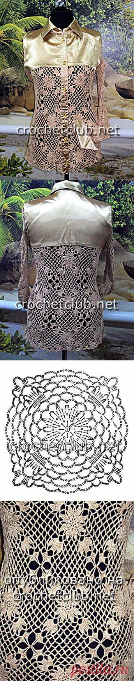 Вязание крючком и ткань = блузка - Вязание Крючком. Блог Настика